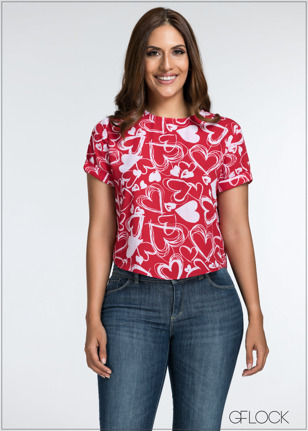 Printed Short Sleeve Top