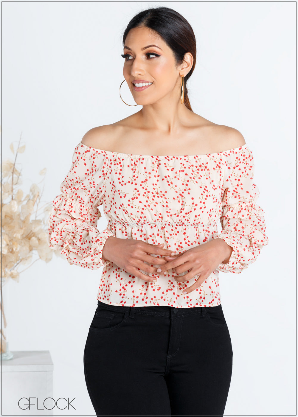 Off the Shoulder Top with Ruffle Detail - 367