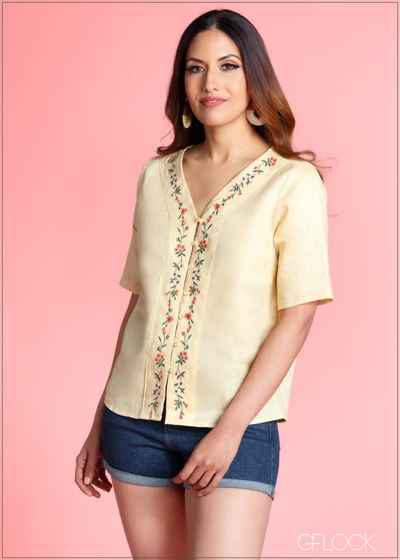 Embroider Detailed 3/4 Sleeve Top - 364