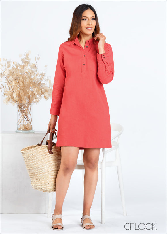 Long Sleeved Shift Dress - 366