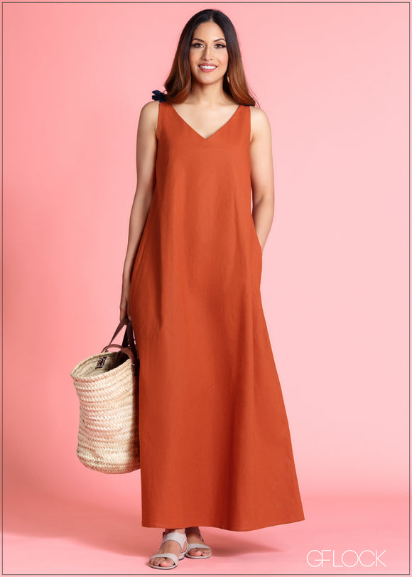 Shoulder Tie Up Dress - 364