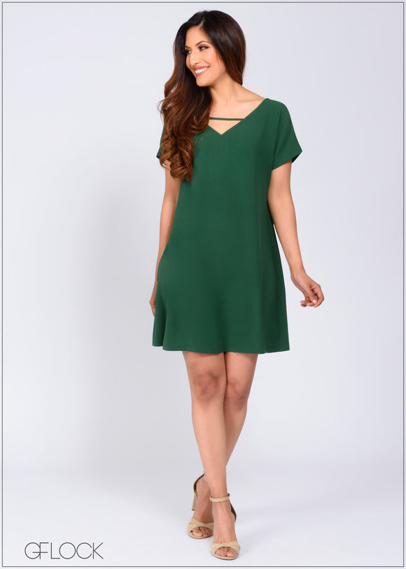 V Neck Cutout Shift Dress - 368