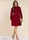 Button Detailed Long Sleeve Dress - GFLOCK.LK