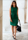 Sleeveless Dress with Waist Tie