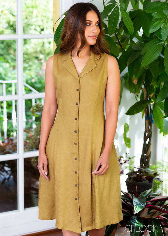 Lapel Collared Linen Dress - 347