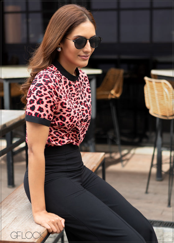 Animal Printed Short Sleeve Top