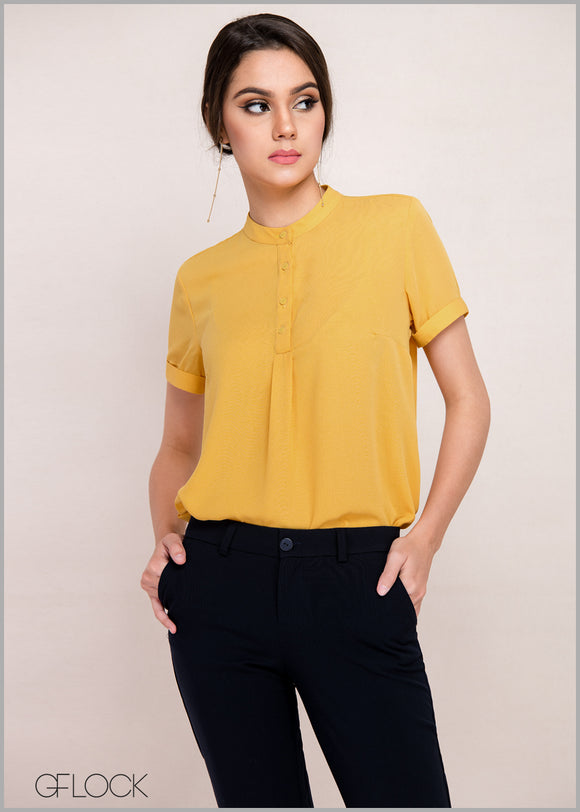 Box Pleat Detail Workwear Top