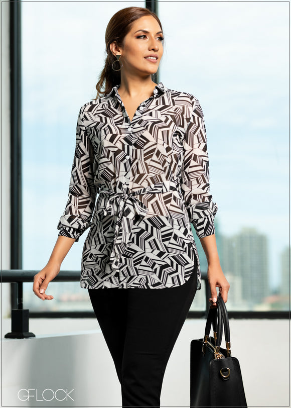 Abstract Printed Long Top