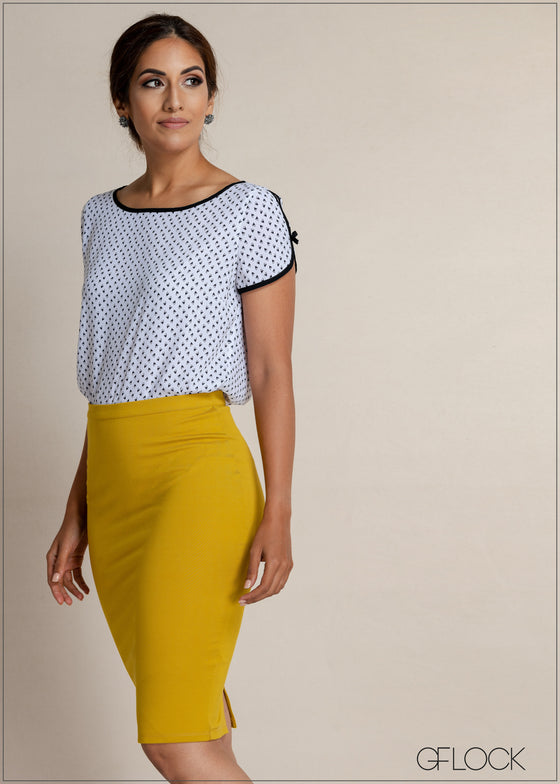 Mono Printed Workwear Top