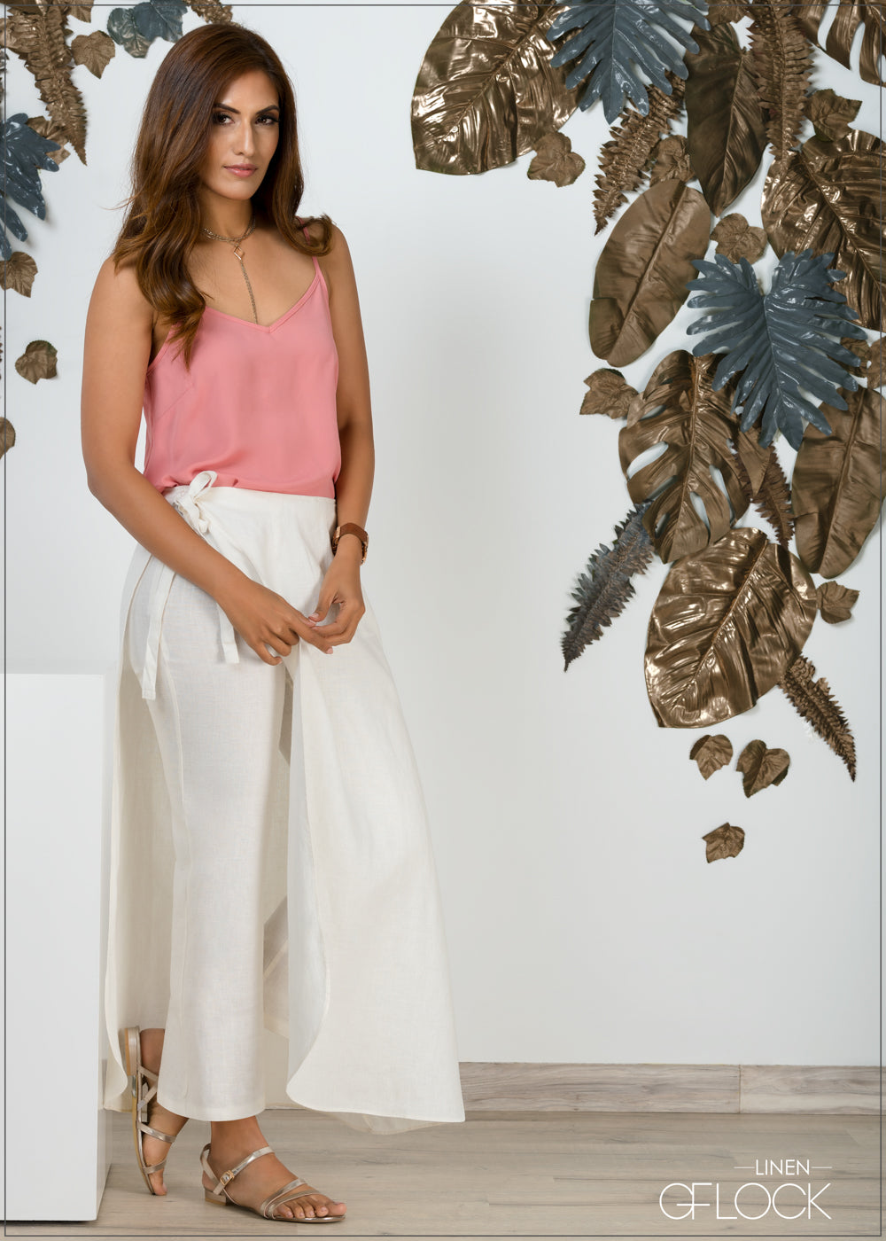 Wrap Skirt Detail Linen Pant