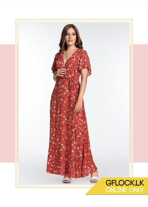 Flared Sleeve Maxi Dress - GFLOCK.LK