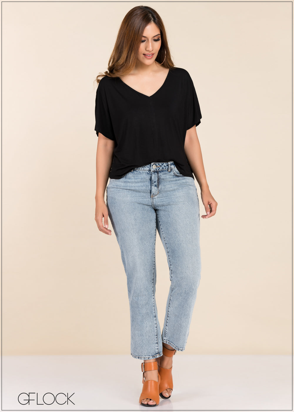 V Neck Loose Fit Top - GFLOCK.LK