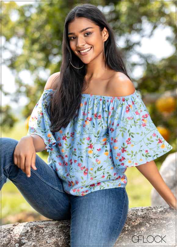 Floral Off Shoulder Top - CC704