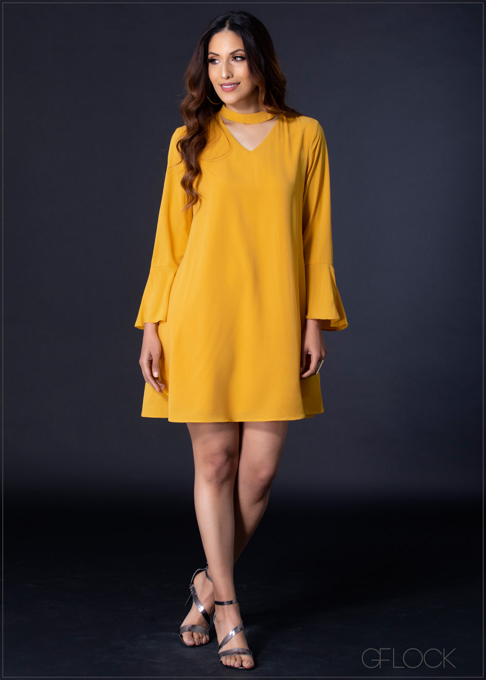 Long Sleeve Dress with Neck Detail - EA804