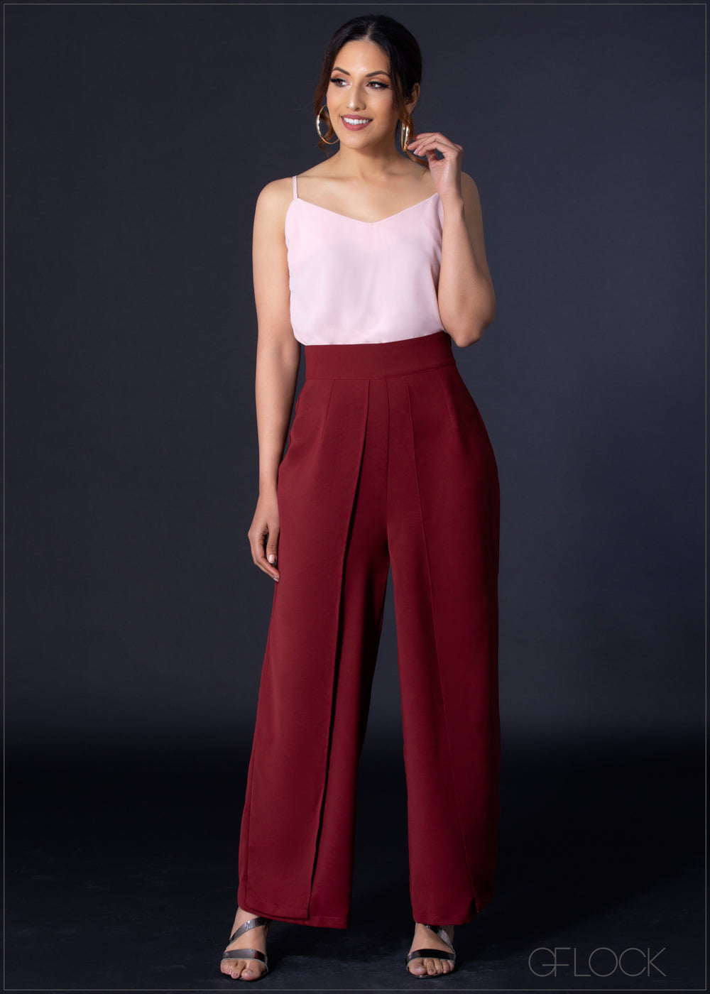 Split Mock Wide Leg Pant - EA804