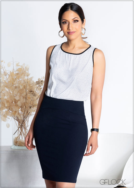 Contrast Detailed Sleeveless Top - 365