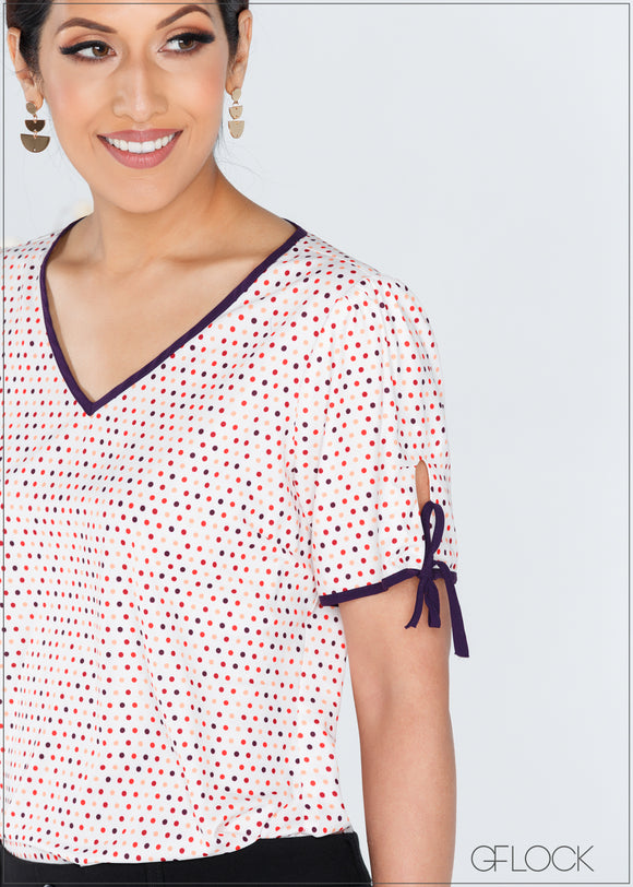 Polka Dot Top with Contrast Detail - 367
