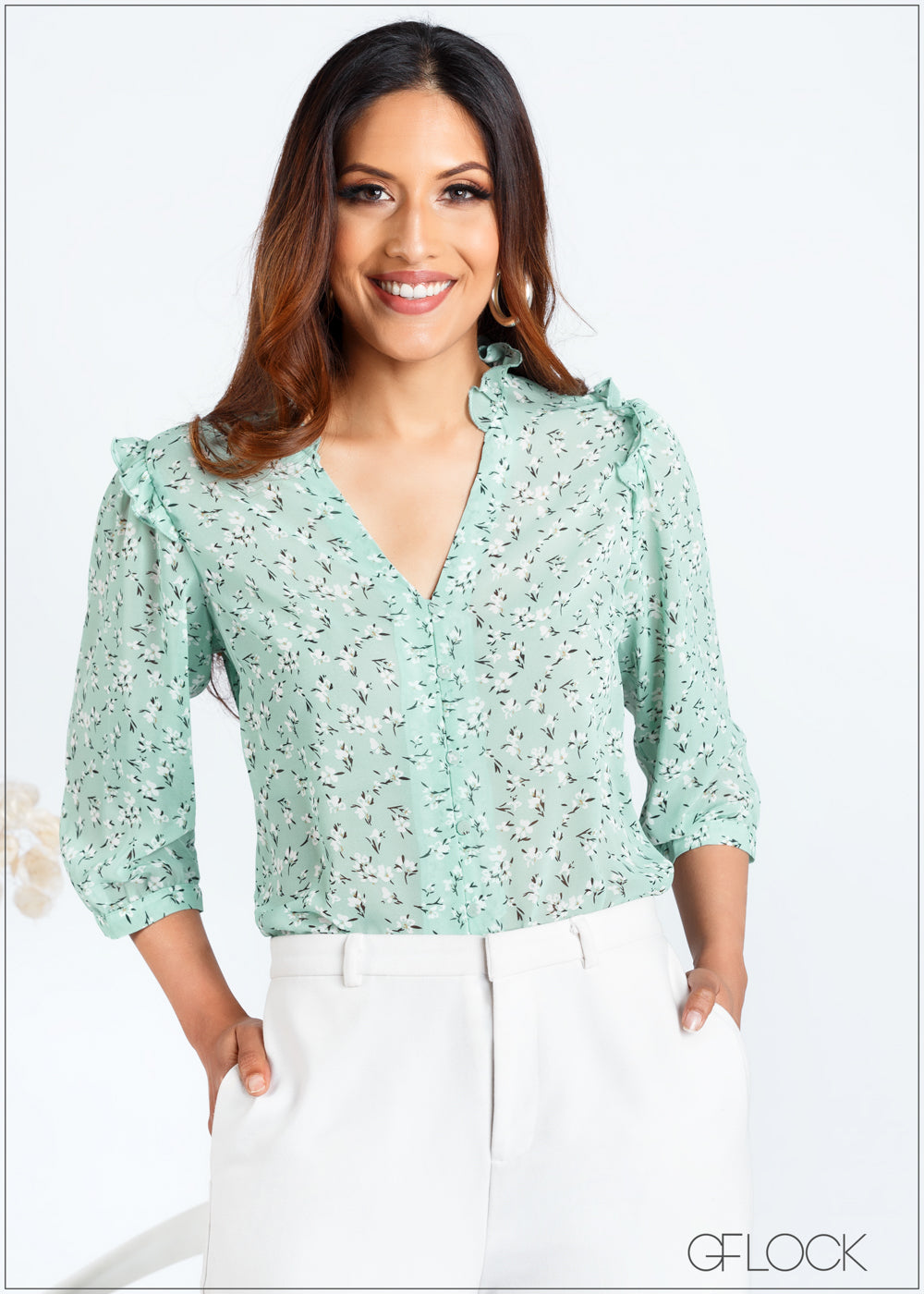 Printed Top with Ruffle Detail - 366