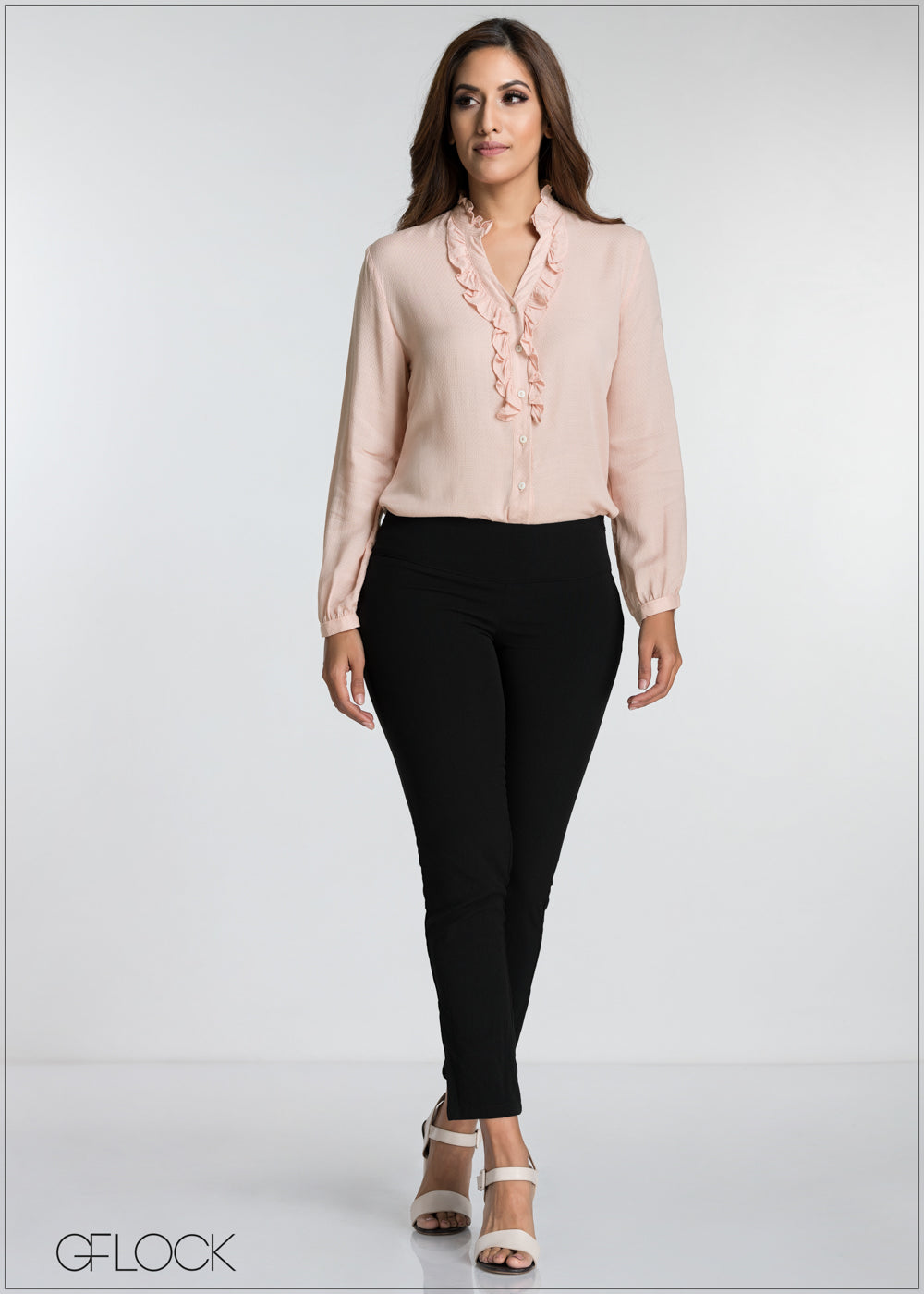 Frilled Button Up Textured Top