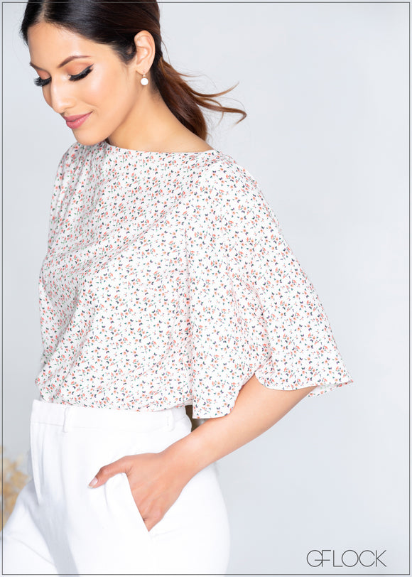 Flared Sleeved Printed Top - 365