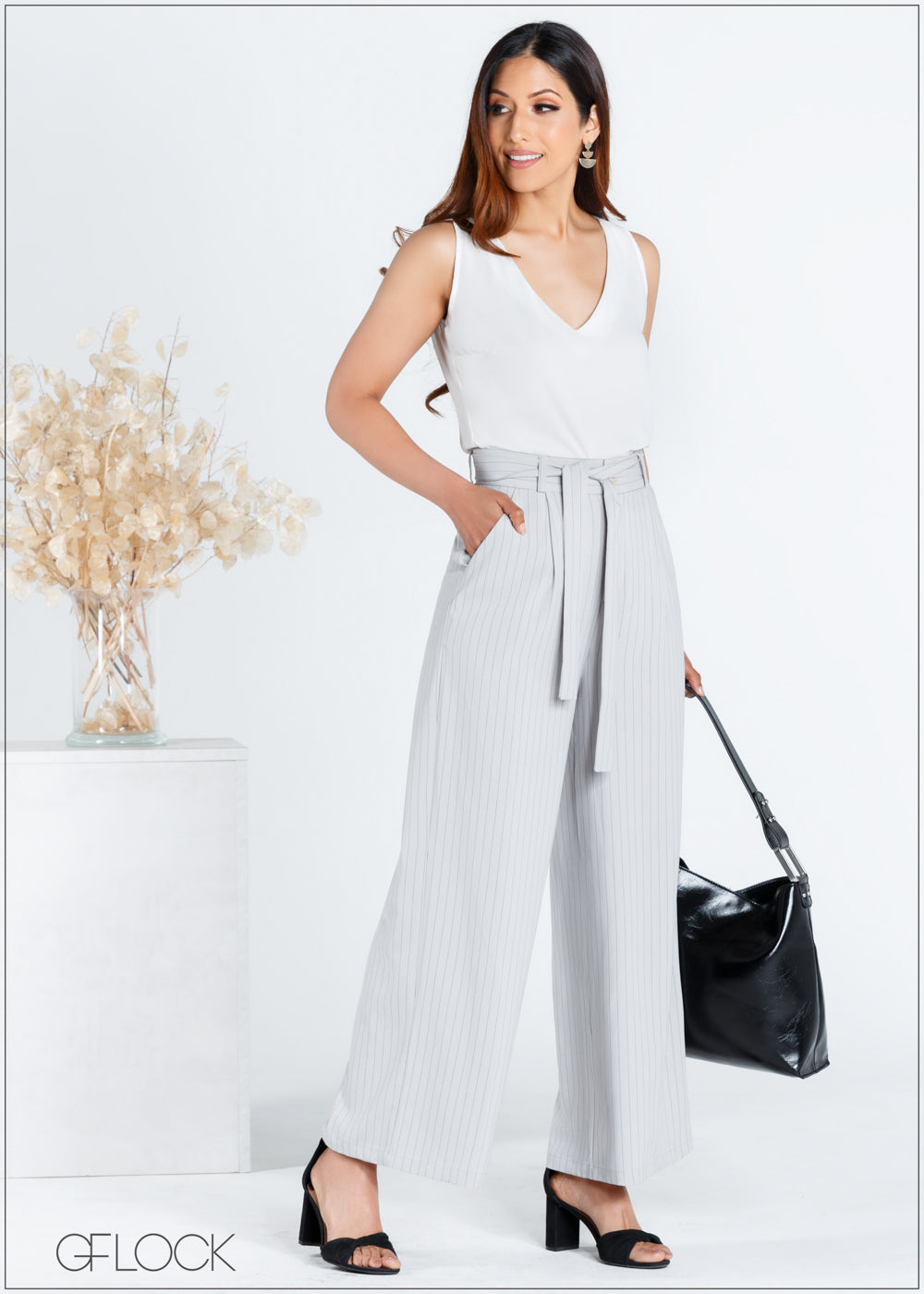 Flare Pant with Waist Tie - 367