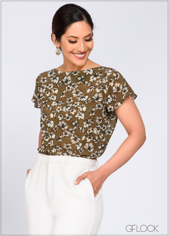 Printed Top with Ruffle Sleeve Detail - 368