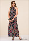 High Neck Printed Dress - GFLOCK.LK