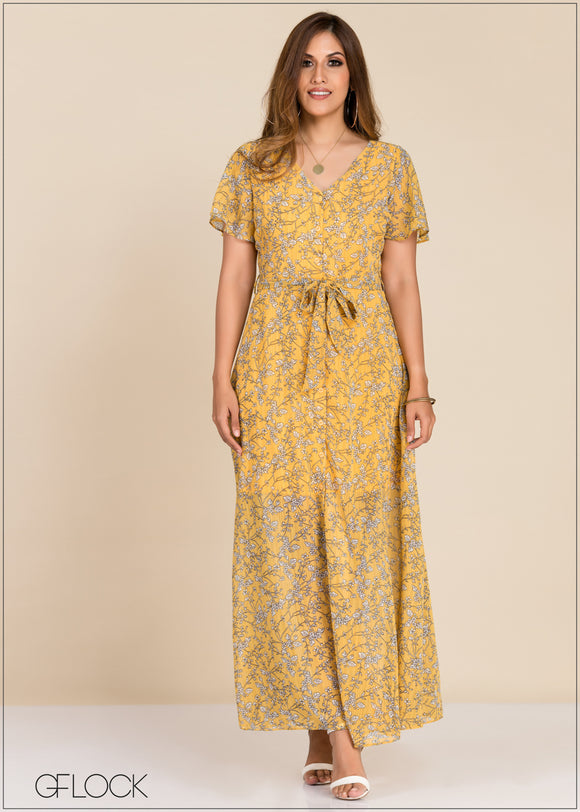 Front Buttoned Maxi Dress - GFLOCK.LK
