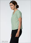Split Sleeve Leaf Printed Top