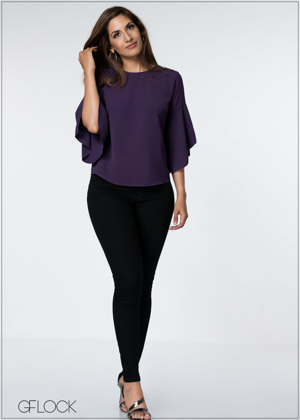 Flared Sleeve Evening Top