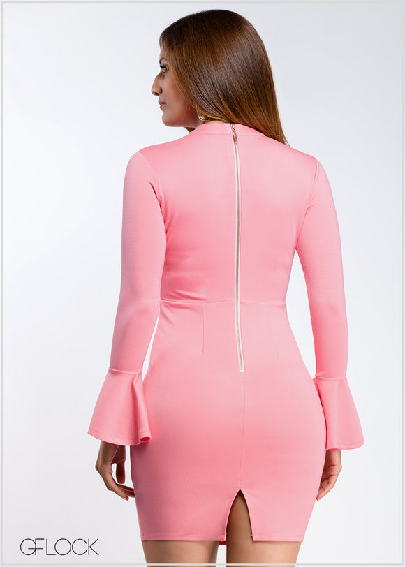 Long Sleeve Frill Detailed Body-con Dress