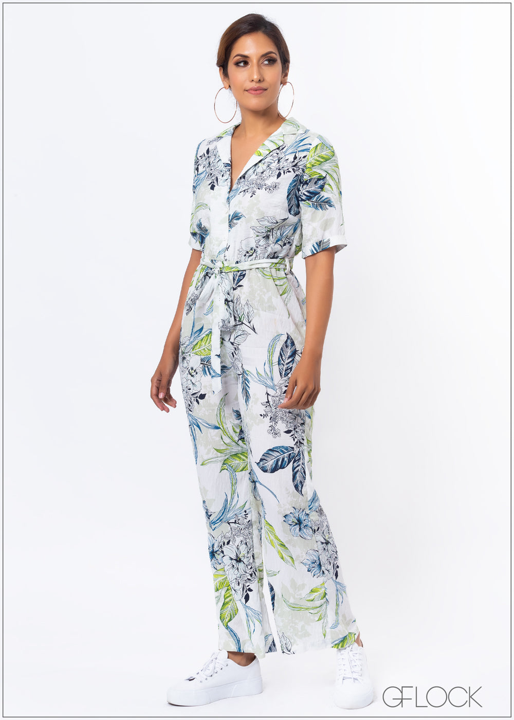 Printed Jumpsuit with Collar