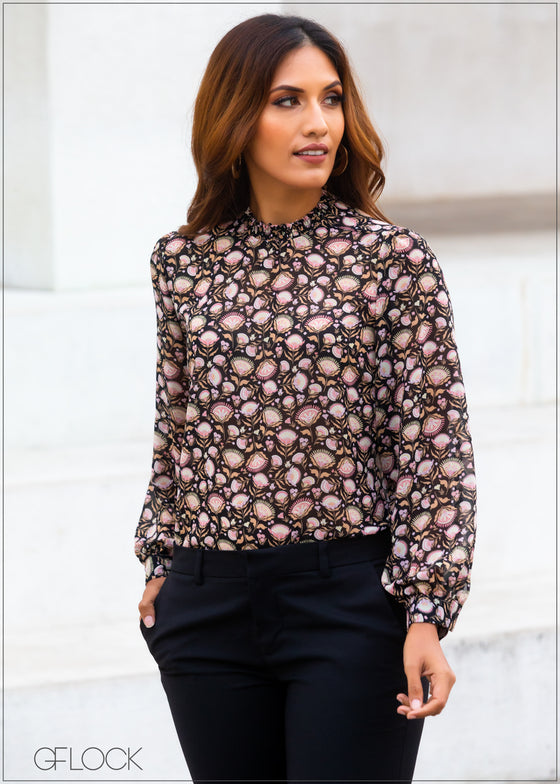 Printed Top with Puff Sleeves