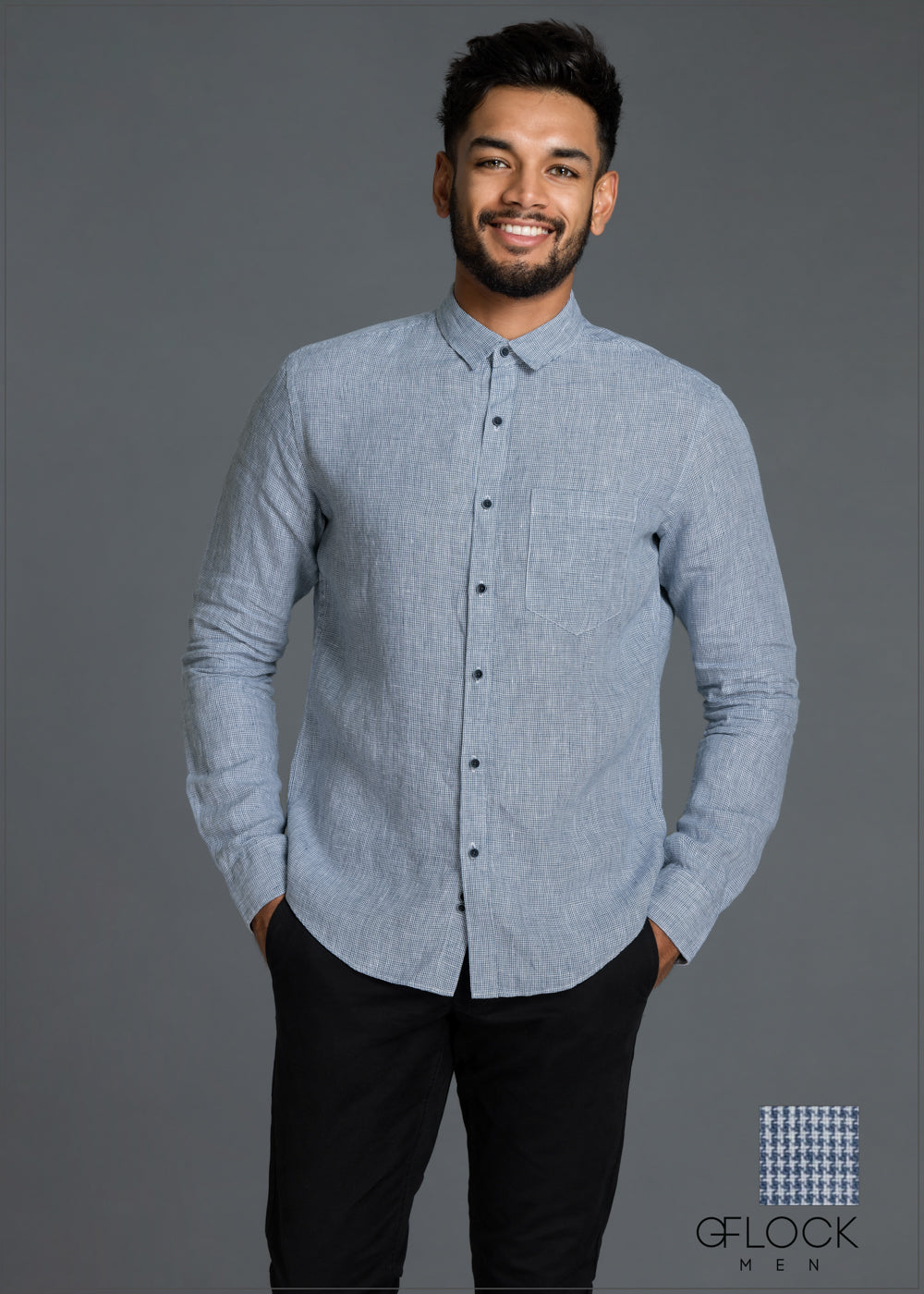Normal Collar Long Sleeve Linen Shirt