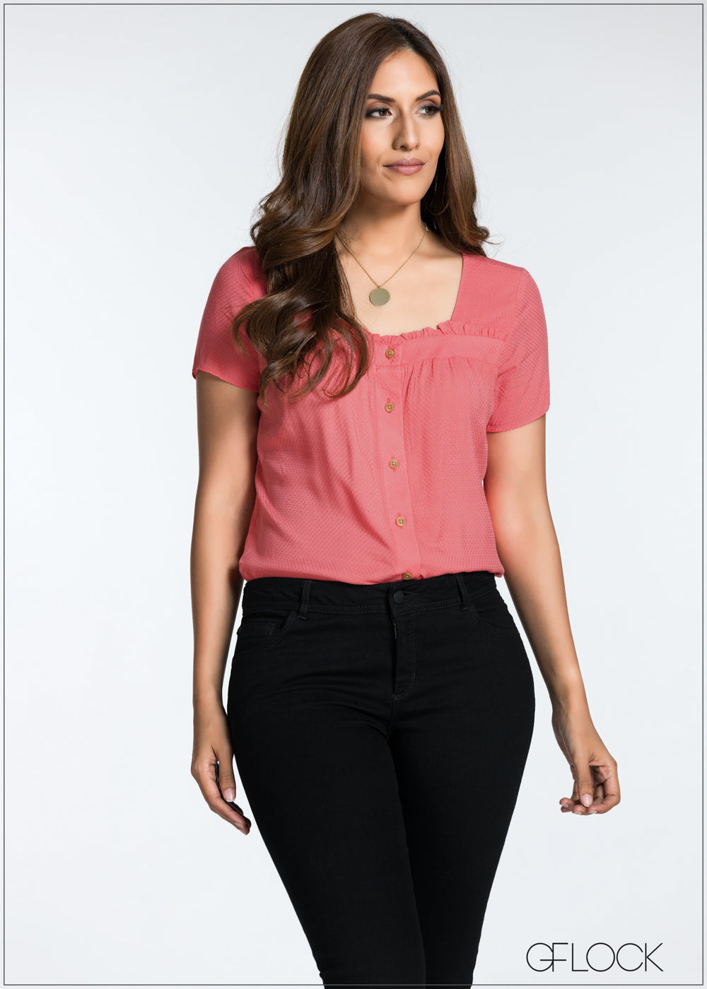 Neck Ruffle Detailed Top