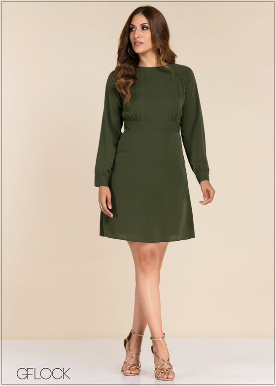 Button Detail Dress - GFLOCK.LK