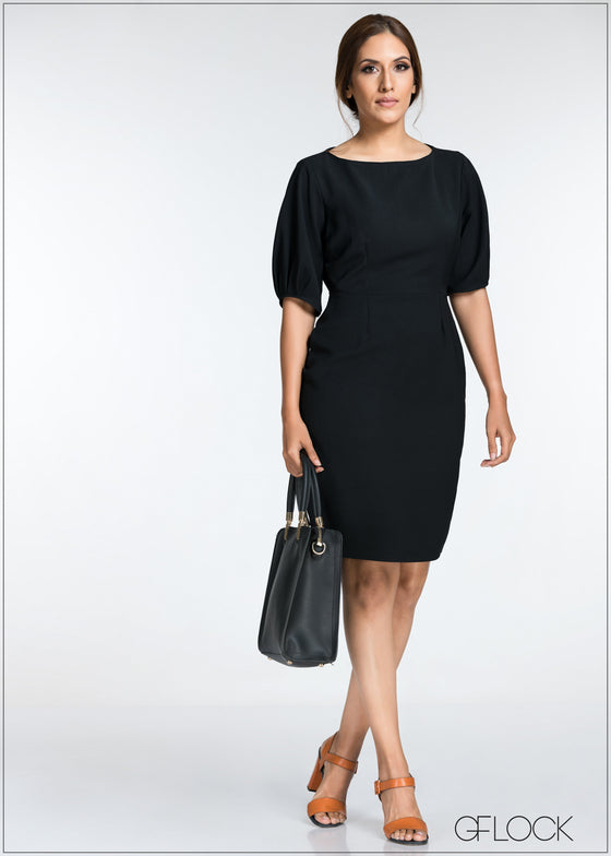 Volume Sleeve Basic Work Wear Dress