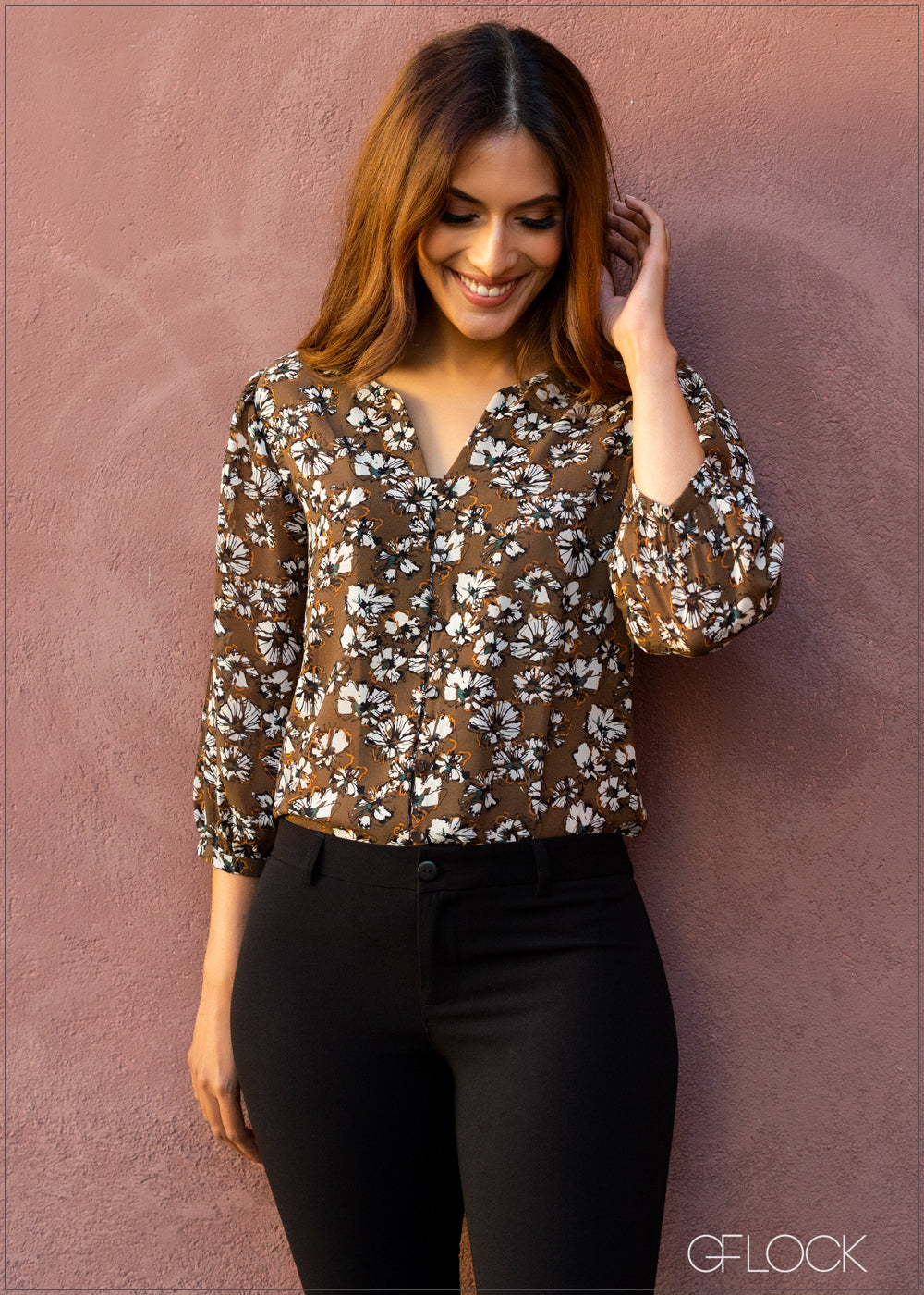 Printed Top with Puffed Sleeves