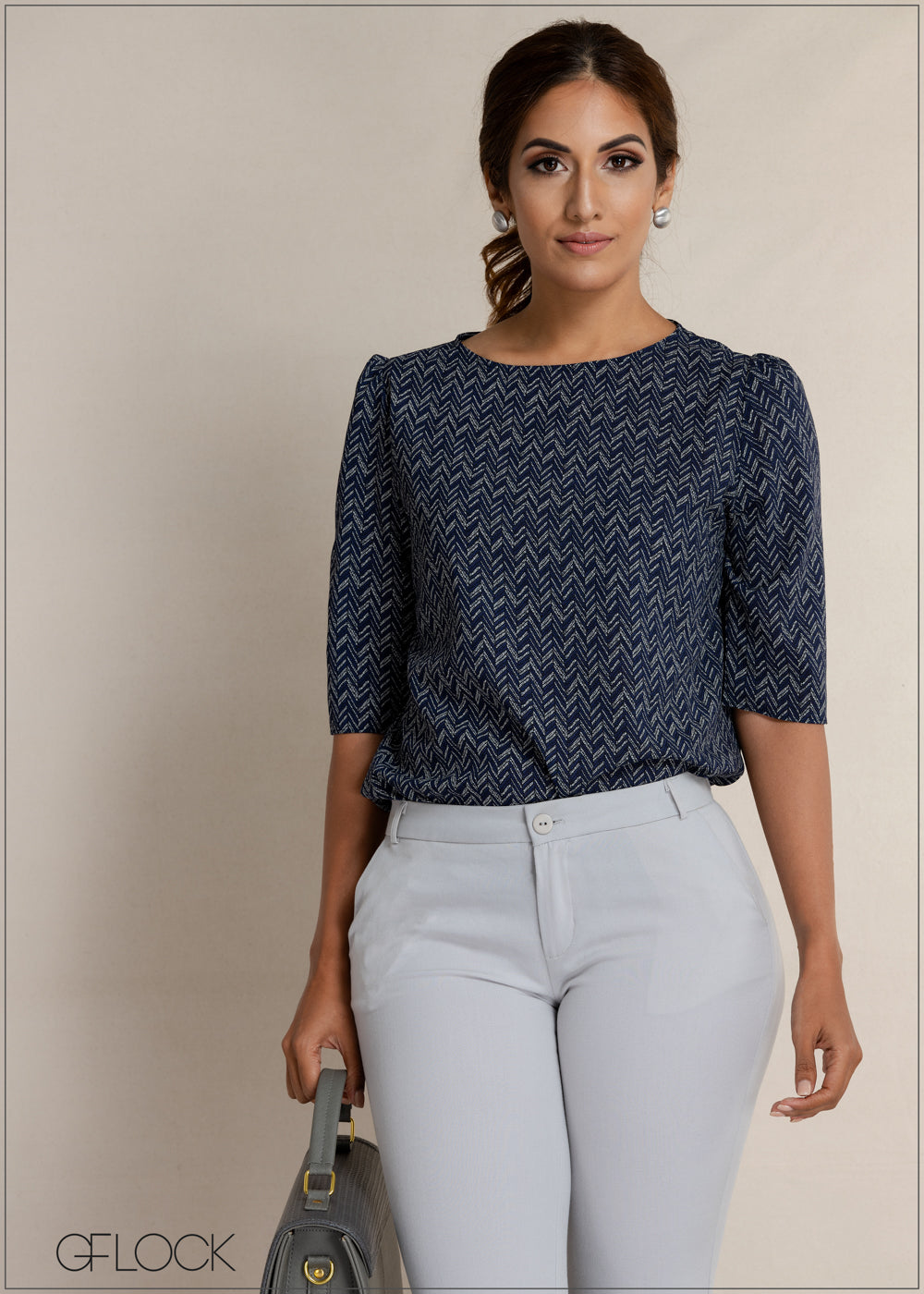 Copy of Printed Three Quarter Sleeve Workwear Top