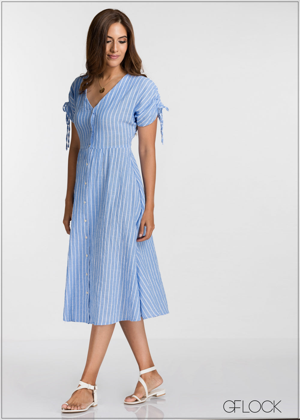 Ruched Tie Up Sleeve Dress