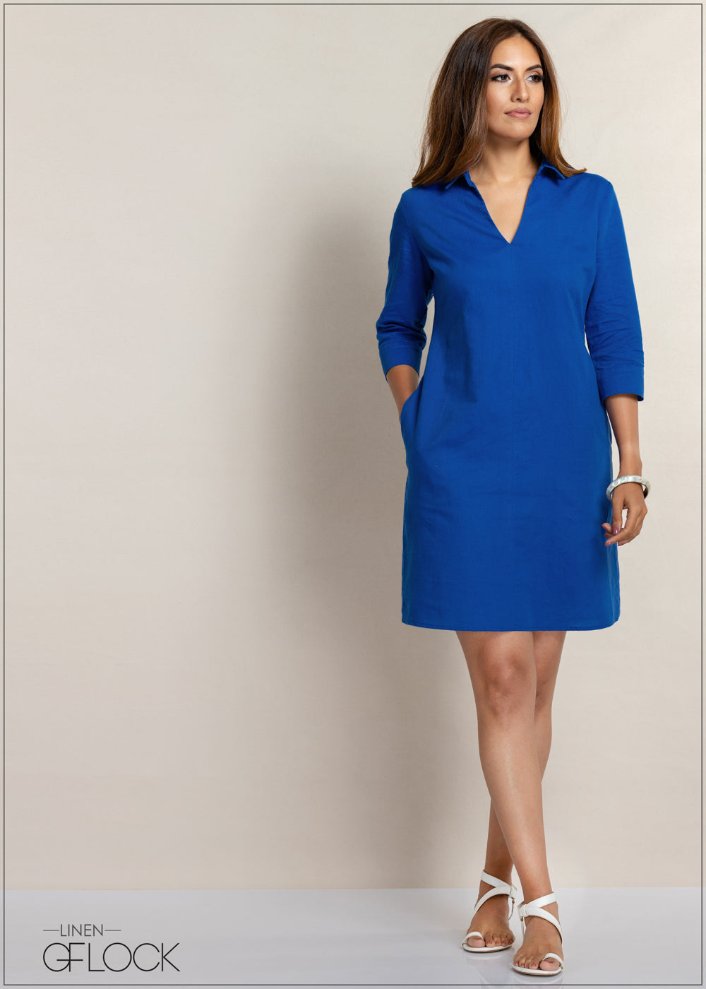 Standard Collar Linen Shift Dress