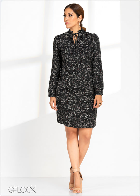 Printed Long Sleeve Dress - GFLOCK.LK