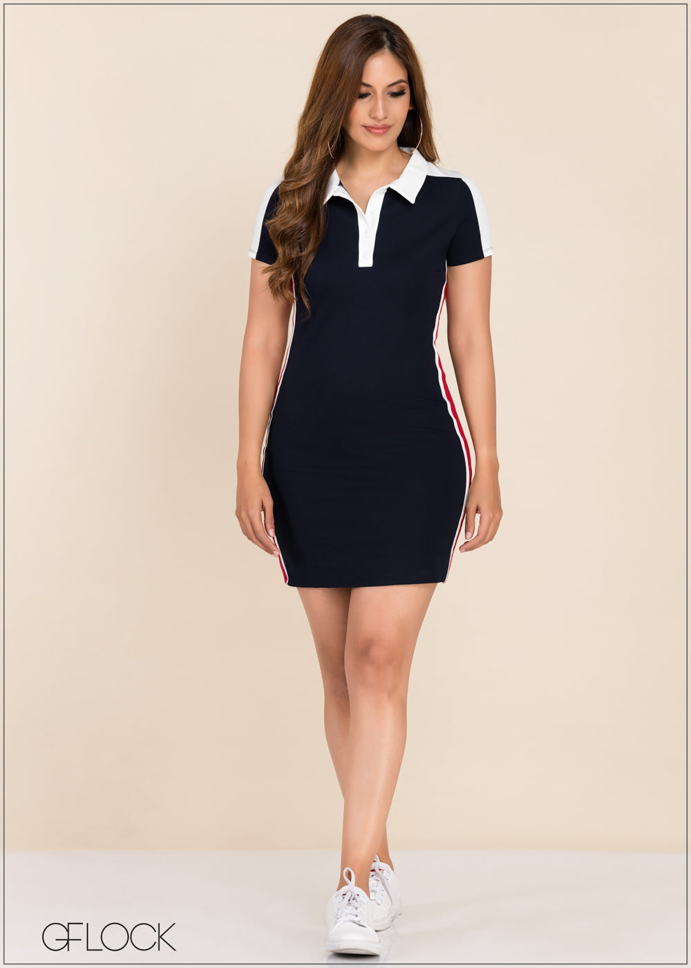 Contrast Detail Bodycon Dress - GFLOCK.LK
