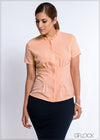 Waist Pleat Peplum Workwear Top