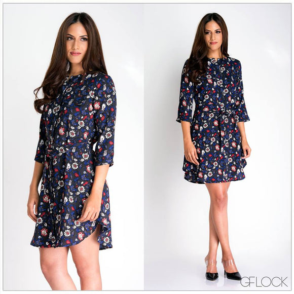 Floral Waist Tie Up Dress