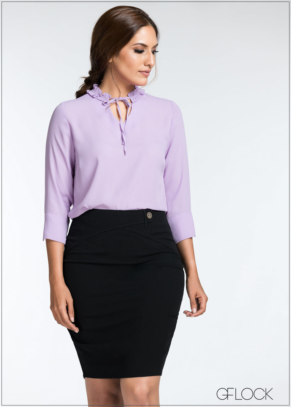 Neck Tie Ruffle Top