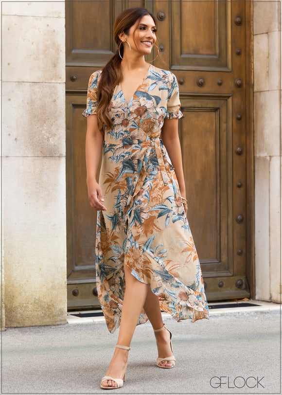 Printed High Low Wrap Dress