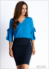 V-Neck Sleeve Tie Detail Workwear Top