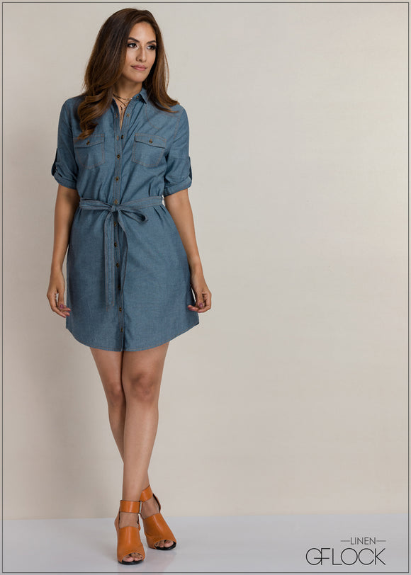 Waist Tie Knot Chambray Dress