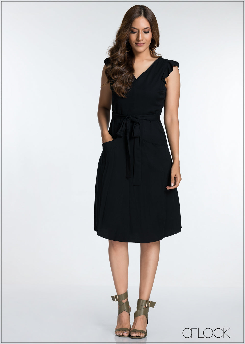 Frill Sleeve Front Tie Midi Dress